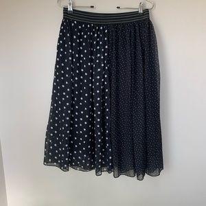 Zara black polka dot tulle skirt l